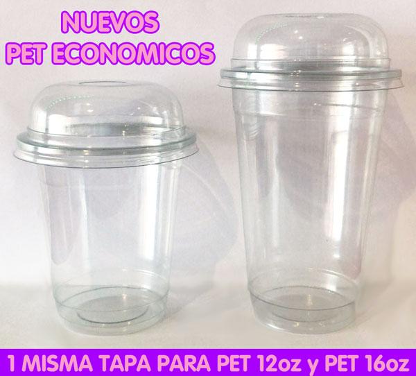 Nuevos Vasos Plástico PET1 12 y PET 16 con cúpula BARATAS
